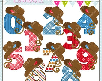 Cowboy Numbers Cute Digital Clipart for Commercial or Personal Use, Cowboy Hat Number Graphic