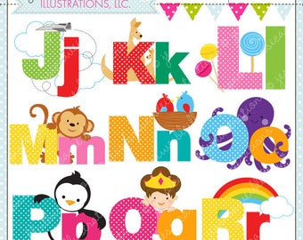 Illustrated Alphabet J - R Cute Digital Clipart for Commercial or Personal Use, Alphabet Clipart, Alphabet Graphics