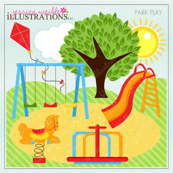 Park Play Cute Digital Clipart For Invitations Card Design