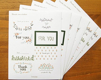 Thank you Flower Pattern Stickers - 6 sheets (4.5 x 6in)