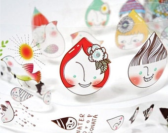 2 Set - Waterdrop Illustration Adhesive Tapes (0.8in & 1.6in)