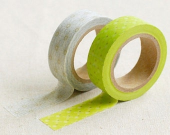 2 Set - Linda Lime Flower Adhesive Masking Tapes (0.6in)