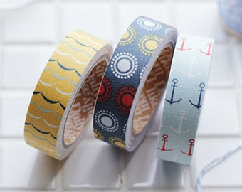 3 Set - Sailing Wave Sun Anchor Adhesive Fabric Tapes (0.6in)