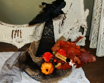 Witch hat table decor burlap tulle black hat witches brew crow floral