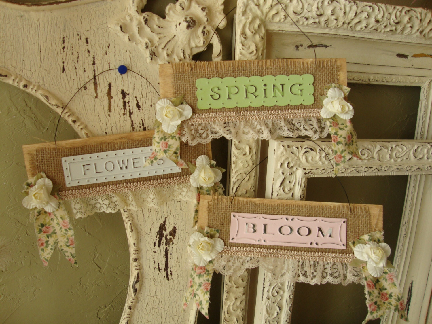 Shabby chic garden signs burlap and lace home decor cottage for Lace home decor