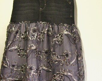 unique denim skirt for women or teens, black and gray lace