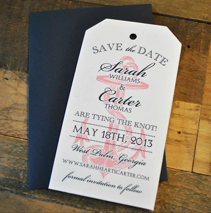 Nautical Vintage Luggage Tag Wedding Save the Date White
