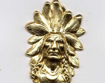 4 Small Indian Head Brass Metal Stampings