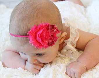 Infant Headband Hot Pink Newborn Headband Flower Headband Shabby Chic Flower Headband toddler Photo Prop/ Birthdays / Baby Shower
