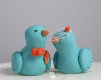 Custom Lovebird Wedding Cake Topper Wedding/Home Decor - Birdcage Veil, Boutineer and Tie - Colors of Choice