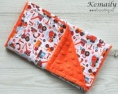 Construction Trucks Double Minky Burp Cloth - Boys - Orange - Baby Shower - Gift - Feeding - Nursing - New Mom - Essentials