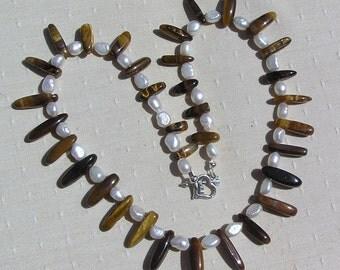 "Crystal Gemstone Necklace, Gold Tiger Eye & White Freshwater Pearl ""Golden Dahlia"", Tigers Eye Necklace, Pearl Necklace, Chakra Necklace"