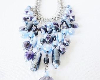 CLEARANCE Statement Bib necklace blue fringe glass beads vintage costume jewelry