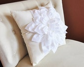 White Dahlia Flower on Ivory Pillow Accent Pillow Throw Pillow Toss Pillow