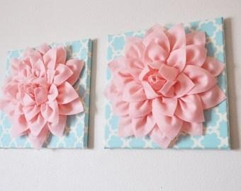 "TWO Wall Flowers -Light Pink Dahlia on Blue Tarika 12 x12"" Canvas Wall Art- Baby Nursery Wall Decor-"