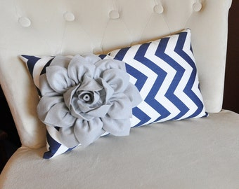 Gray Flower on Navy Chevron Lumbar Pillow Perfect of Dining Room Chairs - Decorative Throw Pillows