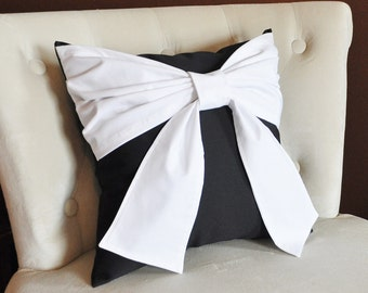 Throw Pillow White Bow on Black Pillow 14x14 -Black and White Pillow-