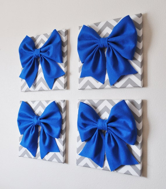 Items similar to Wall Decor SET OF FOUR Cobalt Blue Bows