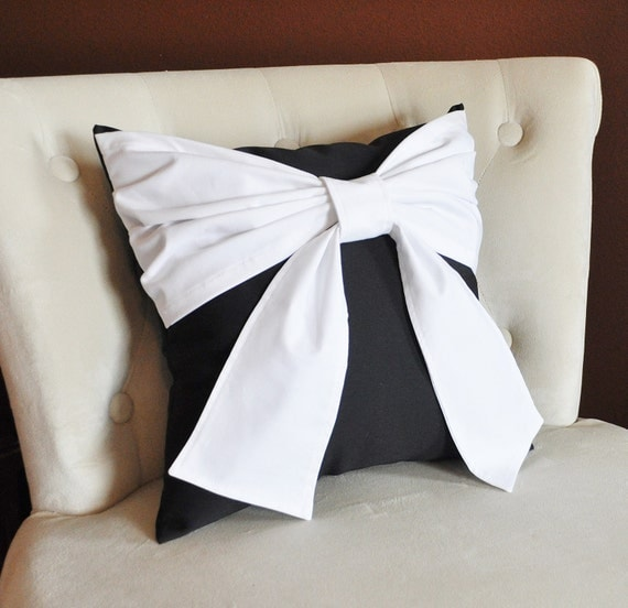 Throw Pillow White Bow on Black Pillow 14x14 Black and White