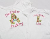 Big Sister Shirt and Little Sister Shirt - Personalized Initial Applique