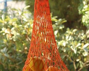 Orange Farmers  Bag , Handmade Market  Bag ,  Shopping Bag ,  String Bag,  Classic Tote