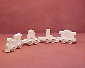 Handcrafted Wood Toy  2 Letter Name Train  unfinished or finished