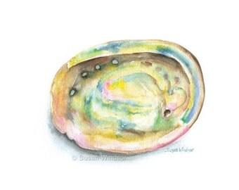 Abalone Seashell Watercolor Painting Giclee Print 10 x 8 (11 x 8.5)