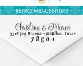 Return Address Stamp –1x4 in RETRO MID-CENTURY – Personalized Wedding Paper Goods