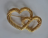 Vintage Goldtone Double Heart  Pin signed New View