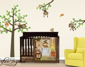 Monkey Tree Wall Decals - Tree wall decal with monkeys and animals on branches 862
