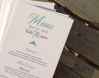 Wedding Reception / Rehearsal Dinner Menu - The Leslie - 4 x 7 Cardstock - Custom Ink Colors Available