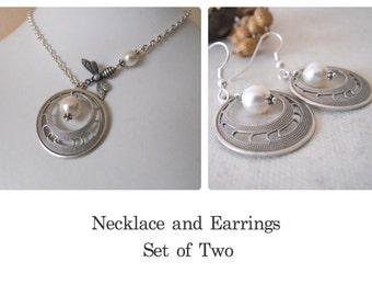 Set of 2 - Necklace and Earrings, Hoop Pendant Necklace, Statement Necklace, Lariat, Choker, Hoop earrings, Drop, Dangle earrings