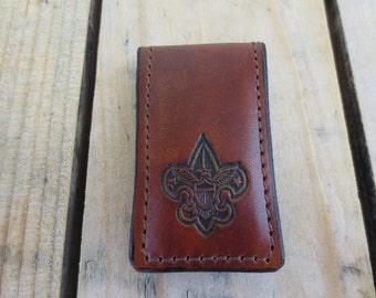 Leather Money Clip with Boy Scout Emblem