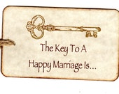 100 Skeleton Key Wedding  Tags / Advice Cards / Wish Tree Tags / Escort Cards / Place Cards / Key To A Happy Marriage Hang /  Vintage Style