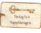 50  Key Wedding  Wish Tags, Wedding Favor Tags, Key To A Happy Marriage - Vintage Style