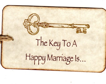 50  Key Wedding  Wish Tags, Wedding Favor Tags, Key To A Happy Marriage Advice Cards - Vintage Style