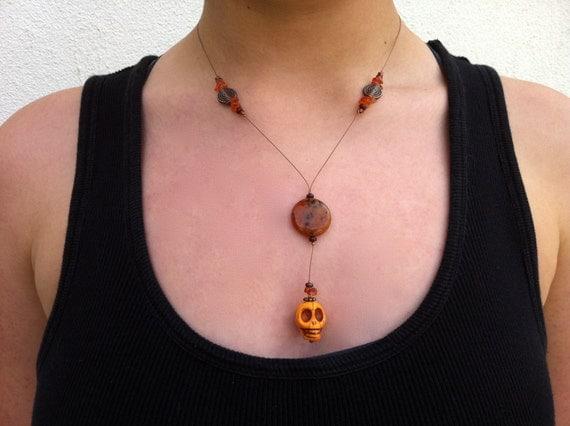 Orange and Copper Skull necklace