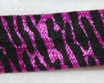 1, 4, or 10 yards purple Black Tiger print  shiny baby headband DIY Hair Ties FOE stretch foldover fold over elastic