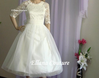 Plus Size. Carol - Vintage Inspired Lace and Organza Wedding Dress.