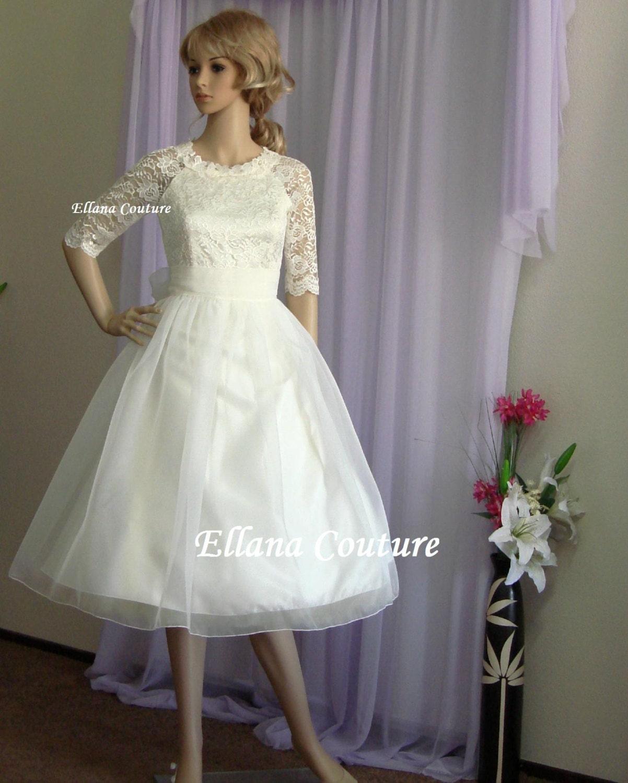 Carol Vintage Inspired Lace and Organza Wedding Dress