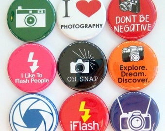 Photographer Magnets - Set of Nine 1.25 Inch Button Magnets Packaged in a Custom Box