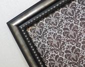 Wall Decor - Magnetic Board - Dry Erase Memo Board - Magnet Board - Framed Bulletin Board - Black Damask Design - magnets included
