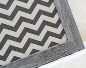 Magnet Board - Magnetic Memo Board - Dry Erase Board - Wall Decor - Housewares - Framed Memo Board - Grey Chevron Design - includes magnets