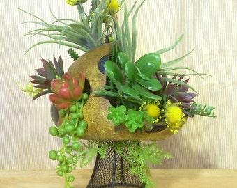Faux Succulent Planter, Indoor Planter, Artificial Succulent Garden, Fairy Garden