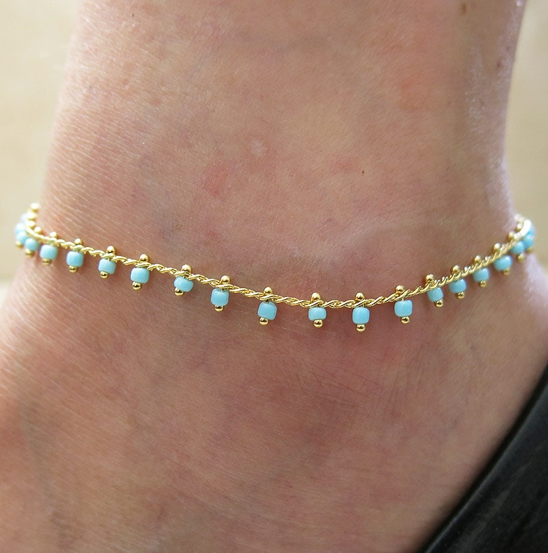 anklet turquoise anklet gold anklet anklet jewelry by ...