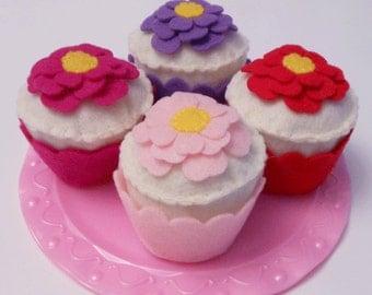 Felt Food, Vanilla Cupcake with Floral Design
