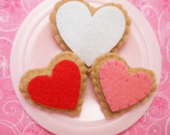 Felt Food Valentine Heart Cookies, set of three