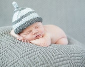 Hand knit Baby Infant hat  blue gray striped New baby hat  boy girl  Newborn eco wool hat  Ready to ship from made in  Colorado Photo Prop
