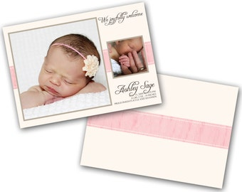 INSTANT DOWNLOAD -   Birth announcement photo card template, 5x7 card - 0164