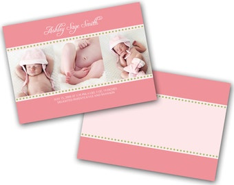 INSTANT DOWNLOAD - Birth announcement photo card template, 5x7 card - 0170